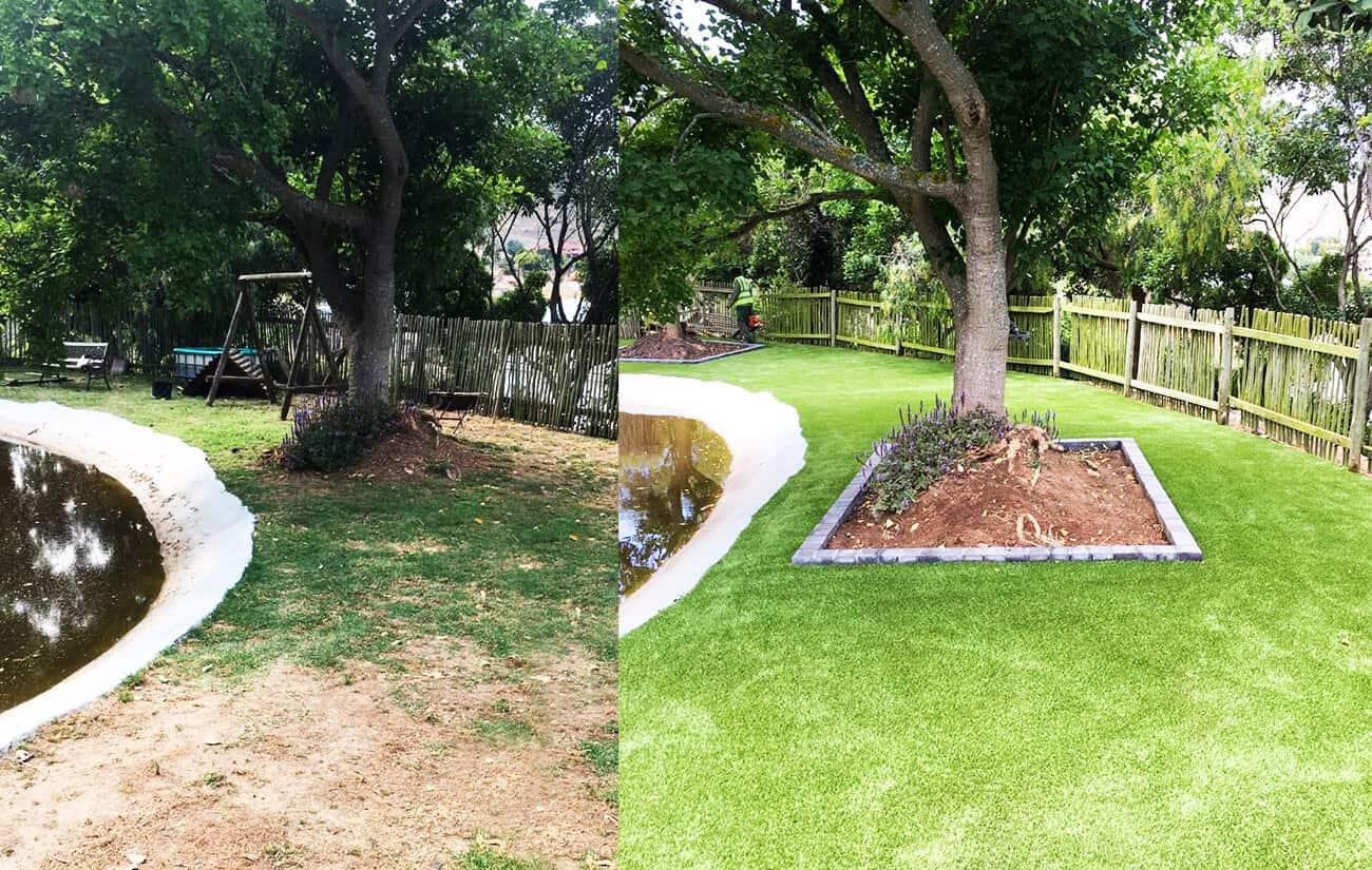 natural vs artificial grass garden