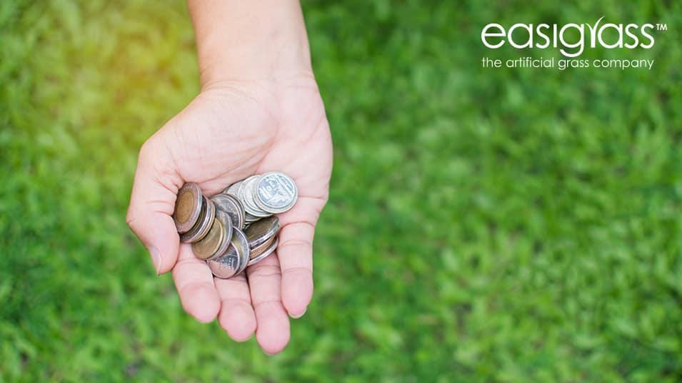 Hand holding money on green artificial grass